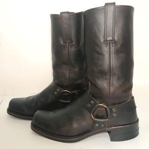Frye Engineer Moto Harness Leather Boots 10.5